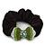 Rhodium Plated Swarovski Crystal 'Bow' Pony Tail Black Hair Scrunchie - Grass Green/ Olive/ AB