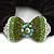 Rhodium Plated Swarovski Crystal 'Bow' Pony Tail Black Hair Scrunchie - Grass Green/ Olive/ AB - view 2