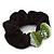 Rhodium Plated Swarovski Crystal 'Bow' Pony Tail Black Hair Scrunchie - Grass Green/ Olive/ AB - view 3