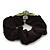 Rhodium Plated Swarovski Crystal 'Bow' Pony Tail Black Hair Scrunchie - Grass Green/ Olive/ AB - view 4