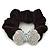 Rhodium Plated Swarovski Crystal 'Bow' Pony Tail Black Hair Scrunchie - Clear/ AB