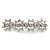 Bridal Wedding Prom Silver Tone Crystal Diamante 'Flower' Barrette Hair Clip Grip - 85mm Across - view 11