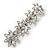 Bridal Wedding Prom Silver Tone Crystal Diamante 'Flower' Barrette Hair Clip Grip - 85mm Across - view 9