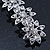 Bridal Wedding Prom Silver Tone Crystal Diamante 'Flower' Barrette Hair Clip Grip - 85mm Across - view 7