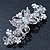 Bridal Wedding Prom Silver Tone Filigree Diamante 'Butterfly' Barrette Hair Clip Grip - 90mm Across - view 2