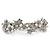 Bridal Wedding Prom Silver Tone Simulated Pearl Diamante Floral Barrette Hair Clip Grip - 80mm Across - view 7
