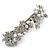 Bridal Wedding Prom Silver Tone Simulated Pearl Diamante Floral Barrette Hair Clip Grip - 80mm Across - view 8