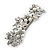 Bridal Wedding Prom Silver Tone Simulated Pearl Diamante Floral Barrette Hair Clip Grip - 80mm Across
