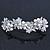 Bridal Wedding Prom Silver Tone Simulated Pearl Diamante Floral Barrette Hair Clip Grip - 80mm Across - view 5