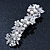 Bridal Wedding Prom Silver Tone Simulated Pearl Diamante Floral Barrette Hair Clip Grip - 80mm Across - view 2