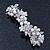 Bridal Wedding Prom Silver Tone Simulated Pearl Diamante Floral Barrette Hair Clip Grip - 80mm Across - view 6