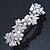Bridal Wedding Prom Silver Tone Simulated Pearl Diamante Floral Barrette Hair Clip Grip - 80mm Across - view 9