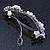 Bridal Wedding Prom Silver Tone Simulated Pearl Diamante Floral Barrette Hair Clip Grip - 80mm Across - view 3