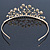 Delicate Bridal/ Wedding/ Prom Gold Plated Austrian Crystal Floral Tiara - view 7