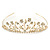 Delicate Bridal/ Wedding/ Prom Gold Plated Austrian Crystal Floral Tiara - view 9