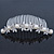 Bridal/ Wedding/ Prom/ Party Rhodium Plated Austrian Crystal Butterfly & Simulated Pearl Hair Comb/ Tiara - 10cm