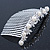 Bridal/ Wedding/ Prom/ Party Rhodium Plated Austrian Crystal Butterfly & Simulated Pearl Hair Comb/ Tiara - 10cm - view 6