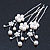 Bridal/ Wedding/ Prom/ Party Set Of 3 Rhodium Plated Simulated Pearl, Crystal Flower Hair Pins - view 2