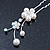 Bridal/ Wedding/ Prom/ Party Set Of 3 Rhodium Plated Simulated Pearl, Crystal Flower Hair Pins - view 3