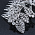 Statement Bridal/ Wedding/ Prom/ Party Rhodium Plated Clear Swarovski Sculptured Bow&Leaf Crystal Side Hair Comb - 11.5cm Width - view 4