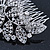 Statement Bridal/ Wedding/ Prom/ Party Rhodium Plated Clear Swarovski Sculptured Bow&Leaf Crystal Side Hair Comb - 11.5cm Width - view 7