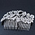Statement Bridal/ Wedding/ Prom/ Party Rhodium Plated Clear Swarovski Sculptured Bow&Leaf Crystal Side Hair Comb - 11.5cm Width - view 2