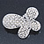 Bridal Wedding Prom Silver Tone Simulated Pearl Diamante 'Asymmetrical Butterfly' Barrette Hair Clip Grip - 60mm Across - view 1