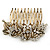 Vintage Inspired Bridal/ Wedding/ Prom/ Party Austrian Clear Crystal 'Leaves & Flowers' Hair Comb In Antique Gold Metal - 80mm - view 9