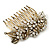 Vintage Inspired Bridal/ Wedding/ Prom/ Party Austrian Clear Crystal 'Leaves & Flowers' Hair Comb In Antique Gold Metal - 80mm - view 2