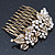 Vintage Inspired Bridal/ Wedding/ Prom/ Party Austrian Clear Crystal 'Leaves & Flowers' Hair Comb In Antique Gold Metal - 80mm - view 4