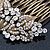 Vintage Inspired Bridal/ Wedding/ Prom/ Party Austrian Clear Crystal 'Leaves & Flowers' Hair Comb In Antique Gold Metal - 80mm - view 5