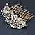 Vintage Inspired Bridal/ Wedding/ Prom/ Party Austrian Clear Crystal 'Leaves & Flowers' Hair Comb In Antique Gold Metal - 80mm - view 7