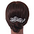 Bridal/ Wedding/ Prom/ Party Rhodium Plated Clear Crystal, Simulated Pearl 'Feather' Hair Comb - 100mm - view 4
