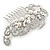 Bridal/ Wedding/ Prom/ Party Rhodium Plated Clear Crystal, Simulated Pearl 'Feather' Hair Comb - 100mm - view 3