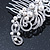 Bridal/ Wedding/ Prom/ Party Rhodium Plated Clear Crystal, Simulated Pearl 'Feather' Hair Comb - 100mm - view 6