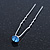 Bridal/ Wedding/ Prom/ Party Single Light Blue Crystal Hair Pin In Silver Tone - 70mm L - view 6