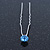 Bridal/ Wedding/ Prom/ Party Single Light Blue Crystal Hair Pin In Silver Tone - 70mm L - view 4