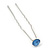 Bridal/ Wedding/ Prom/ Party Single Light Blue Crystal Hair Pin In Silver Tone - 70mm L - view 2