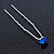 Bridal/ Wedding/ Prom/ Party Single Sapphire Blue Crystal Hair Pin In Silver Tone - 70mm L - view 8