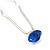 Bridal/ Wedding/ Prom/ Party Single Sapphire Blue Crystal Hair Pin In Silver Tone - 70mm L - view 2