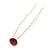 Bridal/ Wedding/ Prom/ Party Single Fuchsia Crystal Hair Pin In Silver Tone - 70mm L