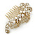 Vintage Inspired Bridal/ Wedding/ Prom/ Party Gold Tone Clear Crystal, Simulated Pearl 'Feather' Side Hair Comb - 100mm - view 3