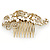 Vintage Inspired Bridal/ Wedding/ Prom/ Party Gold Tone Clear Crystal, Simulated Pearl 'Feather' Side Hair Comb - 100mm - view 7