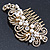 Vintage Inspired Bridal/ Wedding/ Prom/ Party Gold Tone Clear Crystal, Simulated Pearl 'Feather' Side Hair Comb - 100mm - view 5