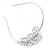 Bridal/ Wedding/ Prom Rhodium Plated Clear Crystal Leaf Tiara Headband - view 4