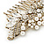 Oversized Bridal/ Wedding/ Prom/ Party Antique Gold Crystal, Pearl Floral Hair Comb - 100mm - view 3