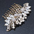 Oversized Bridal/ Wedding/ Prom/ Party Antique Gold Crystal, Pearl Floral Hair Comb - 100mm - view 7