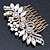 Oversized Bridal/ Wedding/ Prom/ Party Antique Gold Crystal, Pearl Floral Hair Comb - 100mm - view 12