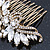 Oversized Bridal/ Wedding/ Prom/ Party Antique Gold Crystal, Pearl Floral Hair Comb - 100mm - view 5