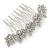 Bridal/ Prom/ Wedding/ Party Rhodium Plated Clear Austrian Crystal Floral Side Hair Comb - 8cm W
